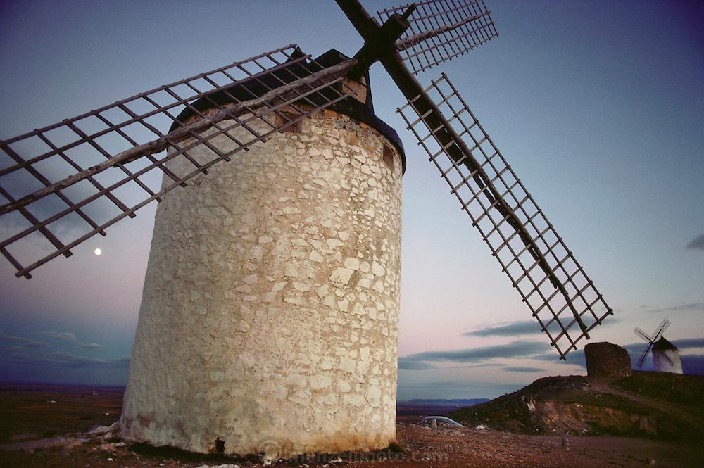 A whitewashed windmill in Consuegra, La Mancha Spain.