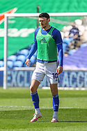 Cardiff City's Kieffer Moore (10) in action during the pre-match warm-up before the EFL Sky Bet Championship match between Cardiff City and Nottingham Forest at the Cardiff City Stadium, Cardiff, Wales on 2 April 2021.