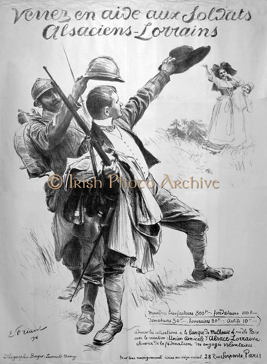 World War I 1914-1918. French poster calling for aid for Alsace-Lorraine, 1916..