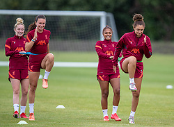 WALLASEY, ENGLAND - Wednesday, July 28, 2021: Liverpool's (L-R) Missy Bo Kearns, Leighanne Robe, Taylor Hinds and Jade Bailey during a training session at The Campus as the team prepare for the start of the new 2021/22 season. (Pic by David Rawcliffe/Propaganda)