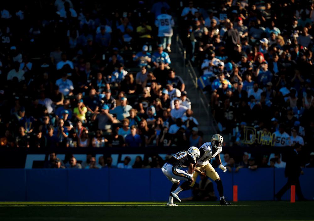 during an NFL preseason football game against the \, Sunday, Aug. 20, 2017, in Carson, Calif. The XX defeated the XX xx-xx. (Ryan Kang via AP)