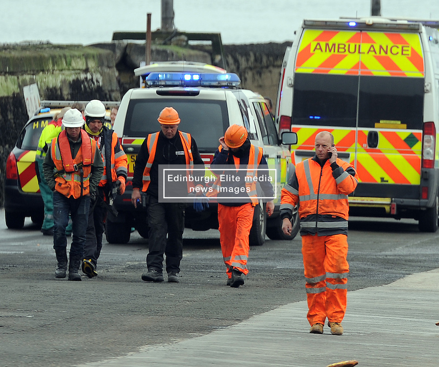 Incident, South Queensferry, 28-4-2016<br /> <br /> 2 Ambulances, Medic 1, Coastguard, Police rushed to the the pier below the Forth Rail Bridge following an incident after the SNP press call had finished. No SNP officials involved.<br /> <br /> (c) David Wardle   Edinburgh Elite media