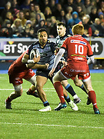 Rugby Union - 2017 / 2018 Guinness Pro14 - Cardiff Blues vs. Scarlets<br /> <br /> Willis Halaholo  of Cardiff attacks , at Cardiff Arms Park.<br /> <br /> COLORSPORT/WINSTON BYNORTH