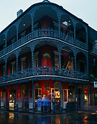 French architecture of the Royal Cafe, French Quarter, New Orleans, Louisiana