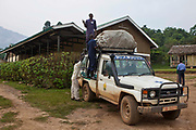 One of the outreach clinic vehicles being loaded from the Bwindi Community Hospital.  As part of the outreach programme they cover 32 primary schools and 5 secondary schools in the region as well as many communities. The main Bwindi Community Hospital is in Buhoma village on the edge of the Bwindi Impenetrable Forest in Western Uganda. It serves around 60,000 people from the surrounding area.