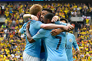 Goal - Gabriel Jesus (33) of Manchester City celebrates scoring a goal to give a 4-0 lead during the The FA Cup Final match between Manchester City and Watford at Wembley Stadium, London, England on 18 May 2019.