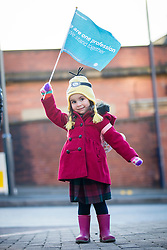 © Licensed to London News Pictures. 06/04/2016. Leeds UK. 3 year old Layla at the Junior Doctors strike in Leeds, Doctors are on strike for the 4th time at Leeds General Infirmary in their contract dispute with the government. Photo credit: Andrew McCaren/LNP