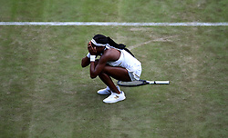 Cori Gauff celebrates her win against Venus Williams on day one of the Wimbledon Championships at the All England Lawn Tennis and Croquet Club, Wimbledon.