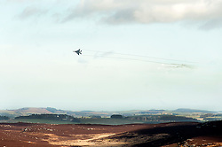 Requested by the British Battle Group, coordinated by RAF liaison officers a pair of McDonnell Douglas (Boeing) F-15 Jets from the US Air Force make a simulated bombing run on an enemy armoured column during exercise Steel Sabre. A large Scale military live fire exercise on Otterburn Training Area it involves 1400 troops the majority from the Royal Artillery 1st Artillery Brigade and brings all the components of an effective Artillery group together to train in delivering firepower on the battlefield.<br /> <br />   02 March 2017 <br />   Copyright Paul David Drabble<br />   www.pauldaviddrabble.co.uk