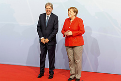 July 7, 2017 - Hamburg, Hamburg, Deutschland - Paolo Gentiloni und Angela Merkel bei der Begrüßung der Teilnehmer des 12. G20 Gipfel 2017. Hamburg, 07.07.2017 (Credit Image: © Future-Image via ZUMA Press)