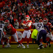 KANSAS CITY, MO - DECEMBER 09: Quarterback Patrick Mahomes #15 of the Kansas City Chiefs looks downfield after the snap against the Baltimore Ravens at Arrowhead Stadium on December 9, 2018 in Kansas City, Missouri. (Photo by David Eulitt/Getty Images)
