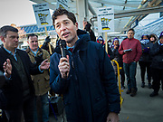 28 FEBRUARY 2020 - MINNEAPOLIS, MINNESOTA: JACOB FREY, the mayor of Minneapolis, talks to striking union members at the Minneapolis St. Paul International Airport. The striking workers did not disrupt passengers and flight operations. About 4,000 janitorial and custodial workers represented by the Service Employees International Union (SEIU) Local 26 in the Twin Cities are on an Unfair Labor Practices (ULP) strike for better wages and benefits. Friday morning they picketed  the Minneapolis-St. Paul International Airport Friday morning.         PHOTO BY JACK KURTZ