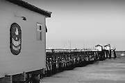 Fisherman's Restaurant at San Clemente Pier Black and White Photo