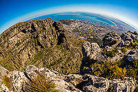 View hiking atop Table Mountain, which is two miles long, Table Mountain National Park, Cape Town, South Africa.