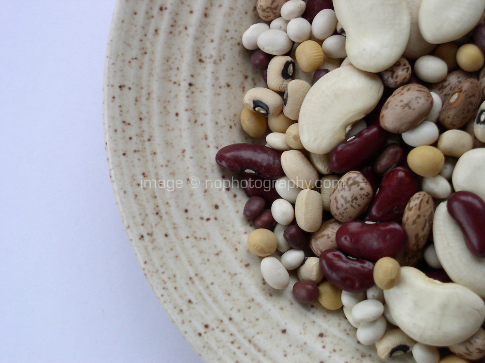 Plate of uncooked beans