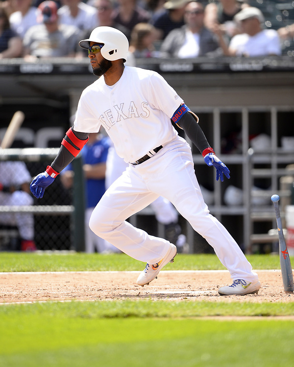 CHICAGO - AUGUST 25:  Elvis Andrus #1 of the Texas Rangers bats against the Chicago White Sox during Players Weekend on August  25, 2019 at Guaranteed Rate Field in Chicago, Illinois.  (Photo by Ron Vesely)  Subject:   Elvis Andrus
