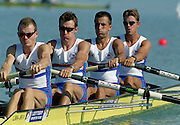 St Catherines, CANADA,  Men's Lightweight Four, .GBR LM 4-. James BROWN , Dave LEMON , Jim McNIVEN , Bow. John WARNOCK,  competing at the 1999 World Rowing Championships - Martindale Pond, Ontario. 08.1999...[Mandatory Credit; Peter Spurrier/Intersport-images]  .. 1999 FISA. World Rowing Championships, St Catherines, CANADA