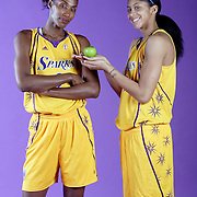 LOS ANGELES, CA, April 29, 2008:  Lisa Leslie (#9) and Candace Parker have fun during a photo shoot in Los Angeles on April 29, 2008.