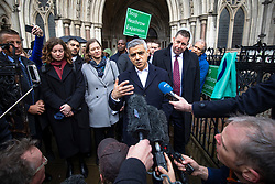 © Licensed to London News Pictures. 27/02/2020. London, UK. Mayor of London Sadiq Khan speaks to the media as he leaves the High Court after judges ruled that the planned expansion of Heathrow Airport was illegal over climate change. Photo credit: Rob Pinney/LNP