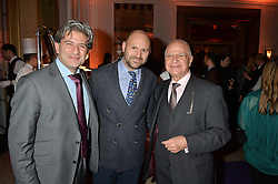Left to right, EDWARD SHAKIAN, FARHAD HEYDARI and EDDIE SHAKIAN at a reception hosted by The Rake Magazine and Claridge's to celebrate London Collections 2015 held at Claridge's, Brook Street, London on 8th January 2015.