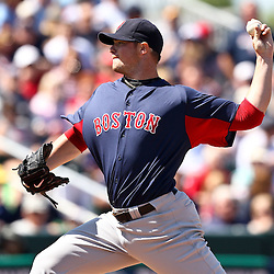 March 11, 2011; Fort Myers, FL, USA; Boston Red Sox starting pitcher Jon Lester (31) during a spring training exhibition game against the Minnesota Twins at Hammond Stadium.   Mandatory Credit: Derick E. Hingle