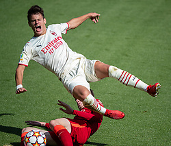 LIVERPOOL, ENGLAND - Wednesday, September 15, 2021: AC Milan's Milos Kerkez is sent flying by Liverpool's Conor Bradley during the UEFA Youth League Group B Matchday 1 game between Liverpool FC Under19's and AC Milan Under 19's at the Liverpool Academy. Liverpool won 1-0. (Pic by David Rawcliffe/Propaganda)