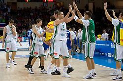 Goran Dragic (11) of Slovenia, Bostjan Nachbar (10) of Slovenia during the basketball match at 1st Round of Eurobasket 2009 in Group C between Slovenia and Serbia, on September 08, 2009 in Arena Torwar, Warsaw, Poland. (Photo by Vid Ponikvar / Sportida)