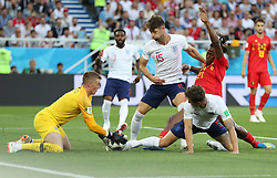 KALININGRAD, June 28, 2018  Goalkeeper Jordan Pickford (1st L) of England defends during the 2018 FIFA World Cup Group G match between England and Belgium in Kaliningrad, Russia, June 28, 2018. (Credit Image: © Cao Can/Xinhua via ZUMA Wire)