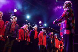 This year the Street of Light at the west end of George Street will make its first appearance as part of Light Night and the acts will perform on a stage by its lights. Choirs from across Scotland including Edinburgh Festival Chorus, Royal Scottish National Orchestra Junior Chorus, Edinburgh's Got Soul and Edinburgh Rock Choir will perform in front of an expected audience of around 20,000 people.  The whole event is hosted by Forth One Arlene Stuart. Callum Skinner, gold cycling medallist will be the one pushed the button at 5pm. Sunday 20th November 2016 (c) Brian Anderson   Edinburgh Elite media