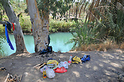 Picnic and camping site on the Southern Jordan River as it exits the Sea of Galilee, Israel
