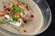 Creamy soup with Belgian grey shrimps.
