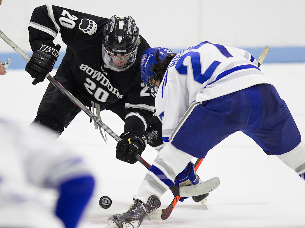 Michael Rudlolf, of Colby College, in a NCAA Division III hockey game against Bowdoin College on November 22, 2014 in Waterville, ME. (Dustin Satloff/Colby College Athletics)
