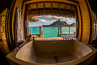 Interior of an overwater bungalow, Motu Tehotu, Four Seasons Resort Bora Bora, Society Islands, French Polynesia.