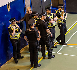 Pictured: A heavy police presence was on view at the Edinburgh Count with armed officers patrolling the counting halls.<br /> <br /> <br /> <br /> Ger Harley   EEm 9 June 2017