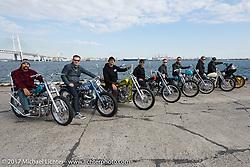Mooneyes Show invited guests meet their custom bikes at the docks. Yokohama, Japan. Saturday December 2, 2017. Photography ©2017 Michael Lichter.