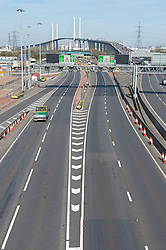 ©Licensed to London News Pictures 24/03/2020<br /> Dartford, UK. The roads are eerily quiet around the Dartford Crossing in Dartford, Kent this afternoon. The Prime Minister Boris Johnson has asked people to stay at home to help in the fight against Covid-19. Photo credit: Grant Falvey/LNP