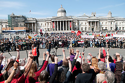 © licensed to London News Pictures. LONDON, UK  01/05/11. Thousands of people gather in Trafalgar Square after marching from Clerkenwell Green for the annual May Day march. Please see special instructions for usage rates. Photo credit should read MICHAEL GRAAE/LNP