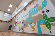 A mural painted by youth in the Juvenile Detention Center gym inside the City County Building in Madison, WI on Thursday, April 18, 2019.