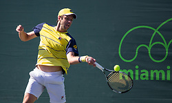March 22, 2018 - Miami, Florida, United States - Horacio Zeballos, from Argentina, hits a forehand against Dusan Lajovic, from Serbia during his first round macth at the Miami Open  on March 23, 2018 in Key Biscayne, Florida. Lajovic won 3-6, 7-6(2), 6-4 (Credit Image: © Manuel Mazzanti/NurPhoto via ZUMA Press)