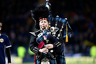 Piper plays the National Anthem - Flower of Scotland - before the UEFA Nations League match between Scotland and Israel at Hampden Park, Glasgow, United Kingdom on 20 November 2018.