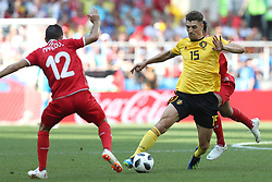 MOSCOW, June 23, 2018  Thomas Meunier (R) of Belgium competes during the 2018 FIFA World Cup Group G match between Belgium and Tunisia in Moscow, Russia, June 23, 2018. (Credit Image: © Xu Zijian/Xinhua via ZUMA Wire)