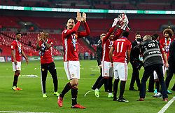 Zlatan Ibrahimovic of Manchester United applauds the fans at full time - Mandatory by-line: Matt McNulty/JMP - 26/02/2017 - FOOTBALL - Wembley Stadium - London, England - Manchester United v Southampton - EFL Cup Final