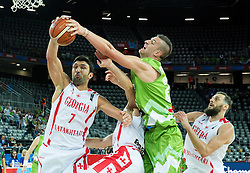 Zaza Pachulia of Georgia vs Alen Omic of Slovenia during basketball match between Slovenia and Georgia at Day 2 in Group C of FIBA Europe Eurobasket 2015, on September 6, 2015, in Arena Zagreb, Croatia. Photo by Vid Ponikvar / Sportida