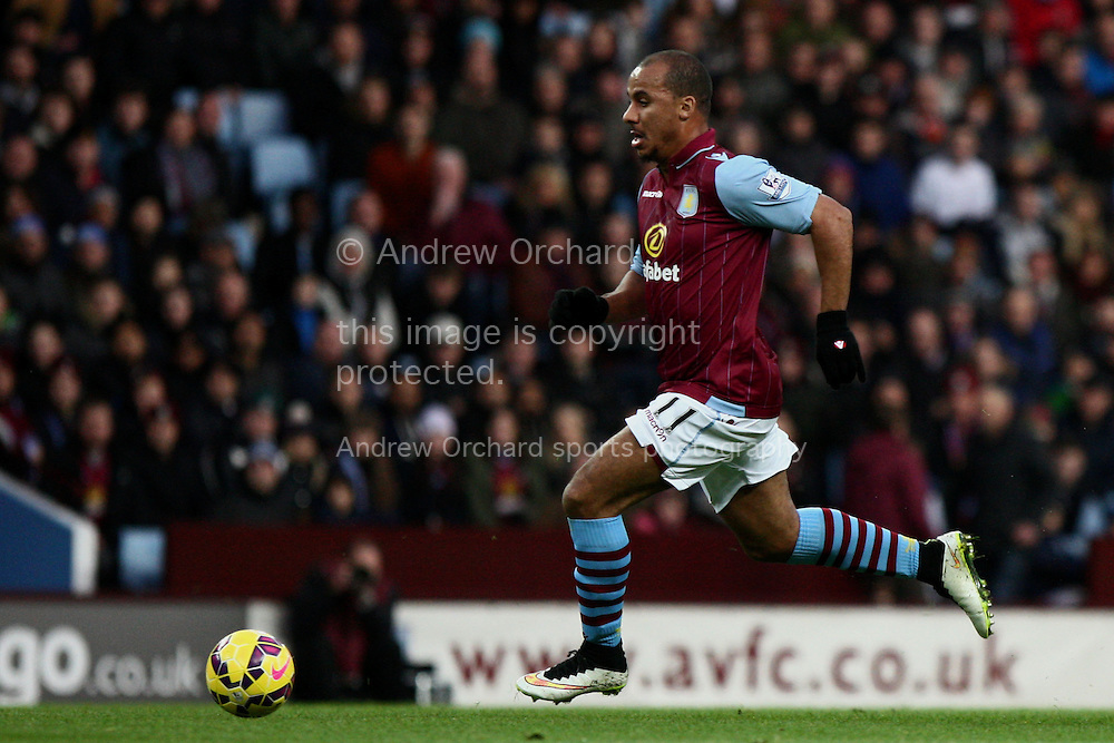 Gabby Agbonlahor of Aston Villa in action. Barclays Premier league match, Aston Villa v Manchester Utd at Villa Park in Birmingham on Saturday 20th December 2014<br /> pic by Mark Hawkins, Andrew Orchard sports photography.