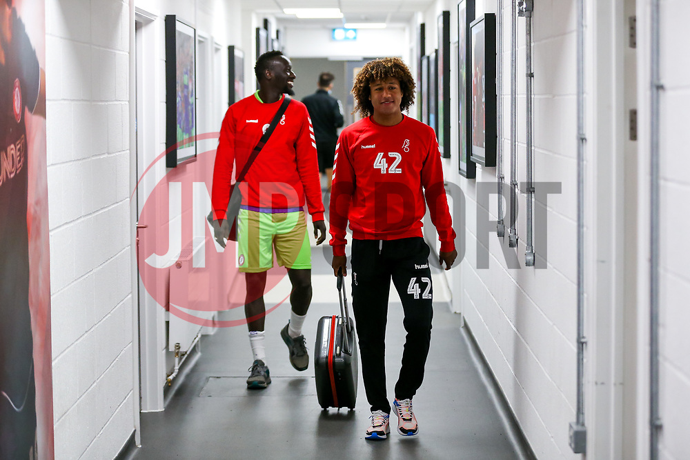Han-Noah Massengo and Famara Diedhiou of Bristol City arrive - Rogan/JMP - 29/08/2020 - Ashton Gate Stadium - Bristol, England - Bristol City v Swindon Town - Pre Season Friendly.