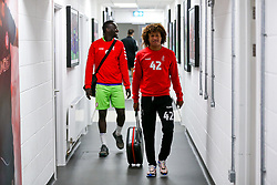 Han-Noah Massengo and Famara Diedhiou of Bristol City arrive - Rogan/JMP - 29/08/2020 - Ashton Gate Stadium - Bristol, England - Bristol City v Swindon Town - Pre Season Friendly.