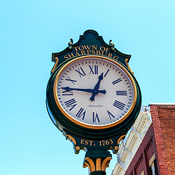 Sharpsburg, MD, USA - May 24, 2018: The Town Clock in Sharpsburg, a quaint and historic town, known for its proximity to Antietam, the site of a major battle in the American Civil War.