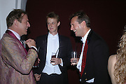 Alex Figa, David Haywood-Smith and Charles Berkeley. Connaught Square Squirrel Hunt Inaugural Hunt Ball. Banqueting House, Whitehall. 8 September 2005. ONE TIME USE ONLY - DO NOT ARCHIVE  © Copyright Photograph by Dafydd Jones 66 Stockwell Park Rd. London SW9 0DA Tel 020 7733 0108 www.dafjones.com