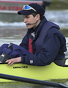 Peter Spurrier Sports  Photo<br />email pictures@rowingpics.com<br />Tel 44 (0) 7973 819 551<br /><br />Photo Peter Spurrier<br />27/03/2002<br />2002 Varsity Boat Race-Tideway week<br />Wed morning Blue Boat training session<br />OUBC Cox Peter Hackworth 20020327 University Boat Race, [Varsity],  Tideway Week. Putney. London
