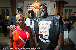 The Concert Wheels MC at a Club meetup at the American Legion in Catonsville, MD with the Flying Eagles MC (founded 1950). USA. August 16, 2015.  Photography ©2015 Michael Lichter.